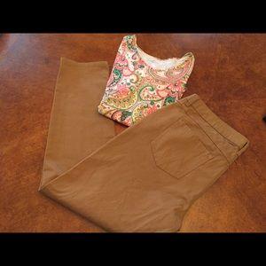 Lauren Conrad tan pants 16 & pink top XL